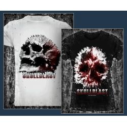Explodierende Schädel (Skullblast) mit Slogan